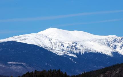 Mount Washington's snow covered top